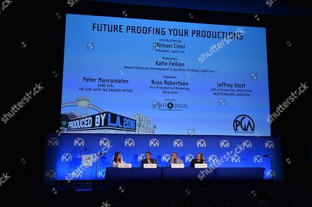 From left, Katie Fellion, Russ Robertson, Jeffrey Scott and Peter Mavromates speak at the 8th Annual Produced By Conference presented by Producers Guild of America at Sony Pictures Studios on in Culver City, Calif