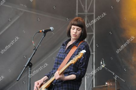 Stock Photo of Emma Richardson with Band of Skulls performing at the Shaky Knees Music Festival, in Atlanta
