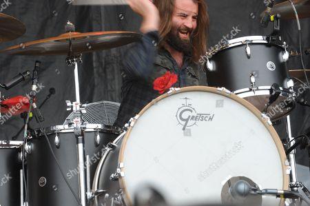 Stock Photo of Matt Hayward with Band of Skulls performing at the Shaky Knees Music Festival, in Atlanta