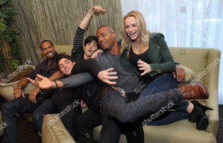 "From left, Lamon Archey, Robert Adamson, Max Ehrich, Redaric Williams and Hunter King, cast members in ""The Young and the Restless,"" are pictured together during the Hot New Faces of ""The Young and the Restless"" press junket at CBS Television City on in Los Angeles"