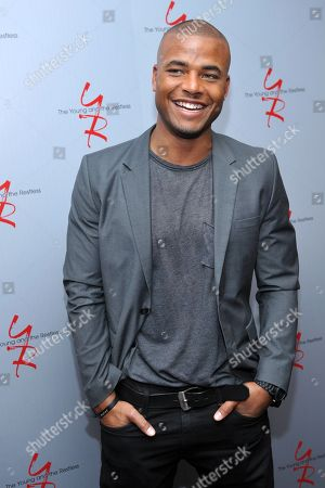 """Redaric Williams, a cast member in """"The Young and the Restless,"""" poses at the Hot New Faces of """"The Young and the Restless"""" press junket at CBS Television City on in Los Angeles"""