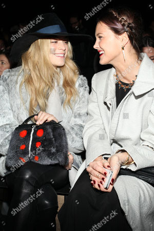 Chelsea Leyland and Kyleigh Kuhn attend Helmut Lang Fall 2014 fashion show during Mercedes-Benz Fashion Week on in New York