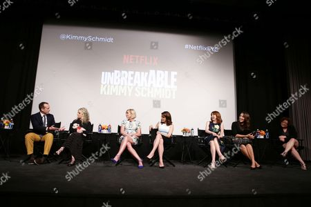 "Exec. Producer/Creator Robert Carlock, Carol Kane, Jane Krakowski, Exec. Producer/Creator Tina Fey, Ellie Kemper, Lauren Adams and Sol Miranda seen at Netflix ""Unbreakable Kimmy Schmidt"" Television Academy Screening at the Silver Screen Theater, in Los Angeles, CA"