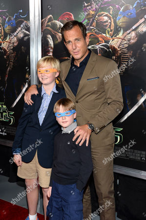 Will Arnett arrives with sons Abel Arnett and Archibald Arnett at special screening of 'Teenage Mutant Ninja Turtles' at AMC Lincoln Square, in New York