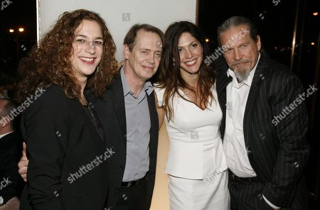 "From left, director Kristi Jacobson, actor Steve Buscemi, director Lori Silverbush and actor Jeff Bridges attend an after party for a screening of ""A Place at the Table"" presented by Bank of America and The Cinema Society, in New York"