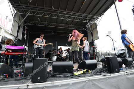 Alex Kandel, Tony Smith, Justin Wilson, Lee Williams, Scott Gardner and Josh Martin with Sleeper Agent performing at the Shaky Knees Music Festival, in Atlanta