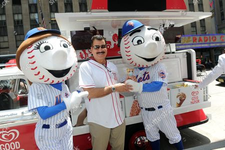 Baseball great Keith Hernandez celebrates the launch of the Good Humor Welcome to Joyhood campaign with Mr. and Mrs. Met in New York, . Follow GoodHumor on Twitter as the Joy Squad travels to other cities this summer