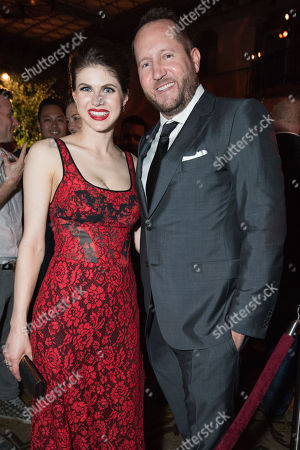 "Alexandra Daddario, left and Beau Flynn arrive at the World Premiere Of ""San Andreas"" after party held at The Hollywood Roosevelt Hotel, in Los Angeles"