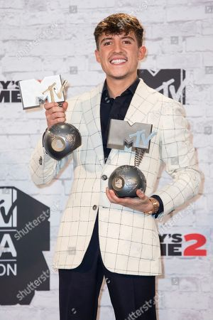 Worldwide Act award winner Lil' Kleine poses in the Winners Room at the MTV European Music Awards 2017 in London, Sunday, Nov. 12th, 2017