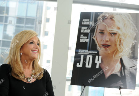 Joy Mangano, entrepreneur and inspiration for the movie JOY, poses for a photo at HSN, in New York, during the Twentieth Century Fox Home Entertainment press event for the May 3rd Blu-ray and DVD release of JOY