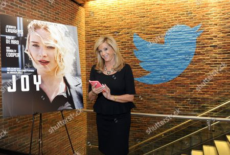 IMAGE DISTRIBUTED FOR TWENTIETH CENTURY FOX HOME ENTERTAINMENT - Joy Mangano, entrepreneur and inspiration for the movie JOY, sends a tweet from the Twitter offices in New York, to announce the release of the movie on Blu-ray and DVD on May 3 from Twentieth Century Fox Home Entertainment