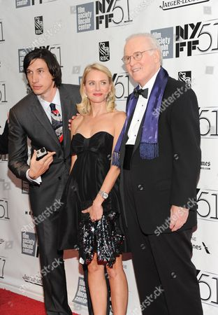 Actors Adam Driver, left, Naomi Watts and Charles Grodin film a scene of an untitled Noah Baumbach film during the opening night of the 51st New York Film Festival on in New York