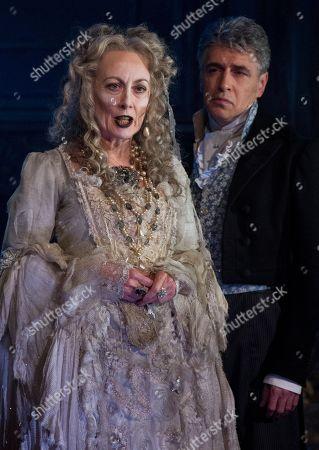 Paula Wilcox as Miss Havisham, left and Paul Nivison as Adult Pip, perform a scene from the Great Expectations, during a theatre photo call at the Vaudeville Theatre, central London, . Based on the novel of the same name by Charles Dickens, the stage adaptation by Jo Clifford runs in the West End from February