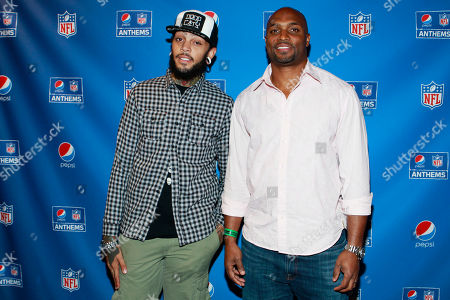 From left, Travie McCoy and Amani Toomer, arrive on the Blue Carpet at Pepsi NFL Anthems Kickoff Eve, at the Hard Rock Cafe in New York