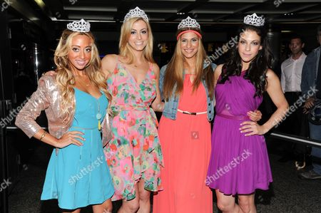 """The cast of Bravo's """"Princesses: Long Island"""", from left, Amanda Bertoncini, Casey Cohen, Chanel """"Coco"""" Omari and Joey Lauren pose together at Penn Station before they embark for The Hamptons on in New York"""