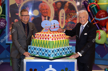 "Bob Barker, right, and Drew Carey pose for a photo on the set of ""The Price is Right"" after a special appearance that will celebrate Barker's 90th birthday at CBS Studios on in Los Angeles"