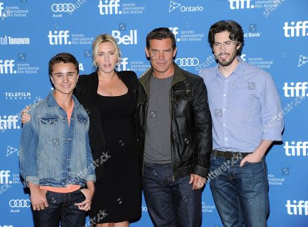 "Actors Gattlin Griffith, from left, Kate Winslet, Josh Brolin and director Jason Reitman, right, participate in the press conference for ""Labor Day"" on day 3 of the 2013 Toronto International Film Festival at the TIFF Bell Lightbox on in Toronto"