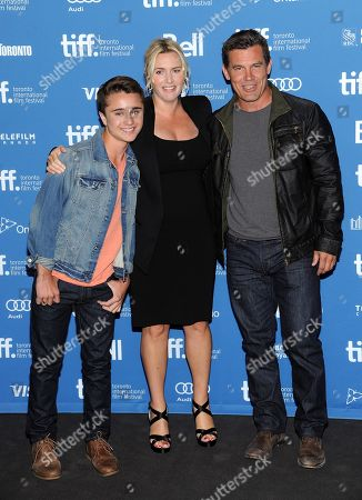 "Actors Gattlin Griffith, left, Kate Winslet and Josh Brolin, right, participate in the press conference for ""Labor Day"" on day 3 of the 2013 Toronto International Film Festival at the TIFF Bell Lightbox on in Toronto"