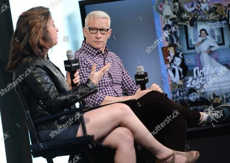 "Stock Image of Producer Liz Garbus, left, and CNN News anchor Anderson Cooper participate in AOL's BUILD Speaker Series to discuss the HBO documentary, ""Nothing Left Unsaid: Gloria Vanderbilt & Anderson Cooper"", at AOL Studios, in New York"