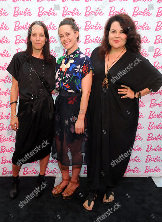 Stock Image of CFDA designers Tess Giberson, and from left, Whitney Pozgay and Cynthia Vincent debut their Barbie-inspired fashions at the Barbie and CFDA Fashion Lounge VIP Party during New York Fashion Week on