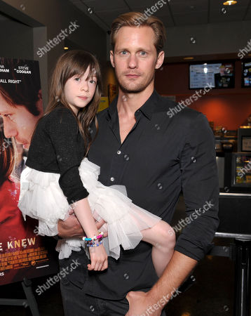 """Onata Aprile, left, and Alexander Skarsgard attend the LA Times Screening of """"What Maisie Knew"""" on in North Hollywood, Calif"""