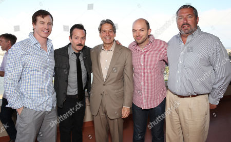 From left, Rob Huebel, Thomas Lennon, Millennium Entertainment CEO Bill Lee, Paul Scheer and Millennium Entertainment President Steve Nickerson attend Millennium's 2013 EMA Party on in Marina Del Rey, Calif