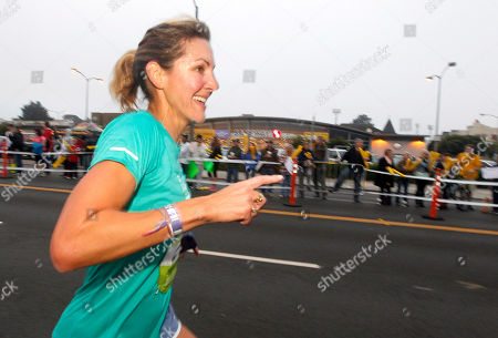 Summer Sanders, Olympic Gold Medalist, on mile four at the Marina Safeway during the Nike Women's Marathon in San Francisco on . Sponsored by Safeway, the Nike Women's Marathon is the largest women's marathon in the world with 25,000 runners