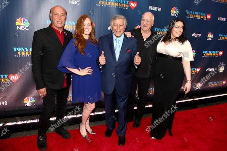 "Danny Bennett, from left, Antonia Bennett, Tony Bennett, Dae Bennett and Joanna Bennett attend ""Tony Bennett Celebrates 90: The Best Is Yet to Come"" at Radio City Music Hall, in New York"