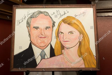 """Stewart F. Lane - aka """"Mr. Broadway and Bonnie Comley's caricature is seen at UMass Lowell Celebration of Sardi's Caricature of Stewart F. Lane & Bonnie Comley at Sardi's on"""