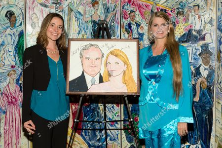 Heather Makrez and Bonnie Comley pose together at UMass Lowell Celebration of Sardi's Caricature of Stewart F. Lane & Bonnie Comley at Sardi's on