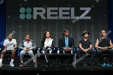 "Hercy Miller, from left, Mercy Miller, Cymphonique Miller, Master P, Romeo Miller and Veno Miller participate in the ""Master P's Family Empire"" panel at the Reelz Channel Summer TCA Tour at the Beverly Hilton Hotel, in Beverly Hills, Calif"
