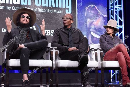 "Stock Picture of Don Was, from left, Hank Shocklee, and Linda Perry participate in the ""Soundbreaking"" panel during the PBS Television Critics Association summer press tour, in Beverly Hills, Calif"