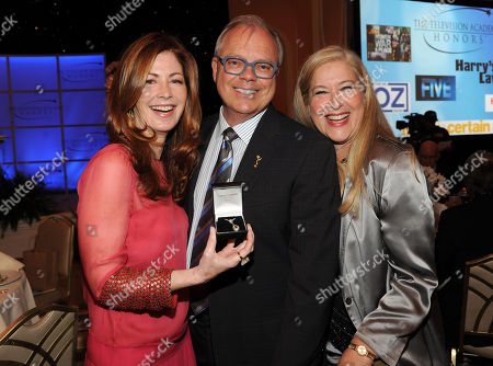 """MAY 2: (L-R) Actress Dana Delany, Academy Chairman and CEO John Shaffner and TV Academy Honors Committee Co-Chair Lynn Roth attend the Academy of Television Arts & Sciences Presents """"The 5th Annual Television Academy Honors"""" at the Beverly Hills Hotel on in Beverly Hills, California"""