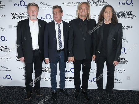 Stock Image of U.S band The Eagles, from left Don Henley, Glenn Frey, Joe Walsh and Timothy Schmidt, arrive before a screening of History of The Eagles Part One, as part of the Sundance Film Festival in the UK, at the o2 Arena in east London