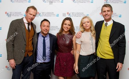 Actors Paul Bettany, from left, Stephen Graham, Zoe Tapper, Naomi Battrick and Director Nik Murphy arrive for the latter's film, Blood, during the London Film Festival at The Odeon West End, Leicester Square on in London, UK