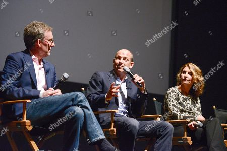 """Co-creator Alex Gansa, left, co-creator Howard Gordon, center, and executive producer Meredith Stiehm at the Fox 21 and Showtime """"Homeland"""" Emmy writer's panel and discussion on in Los Angeles"""