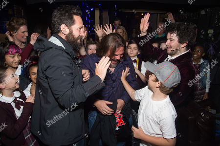 """Paul Rudd, left, Jack Black, Samuel Black and Alex Brightman meet backstage at Broadway's """"School of Rock"""" at the Winter Garden Theatre on Sunday, May, 1, 2016, in New York"""