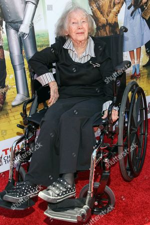 """Actress Ruth Duccini arrives at the world premiere of """"Wizard of Oz"""" 3D at the TCL Chinese Theatre, in Los Angeles. Ruth Robinson Duccini, one of the original Munchkins from the 1939 movie """"The Wizard of Oz,"""" has died, . She was 95"""