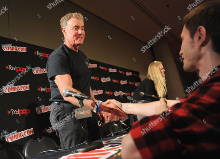 Stock Image of John McGinley greets a fan the Stan Against Evil NY Comic Con Panel at Javits Center, in New York