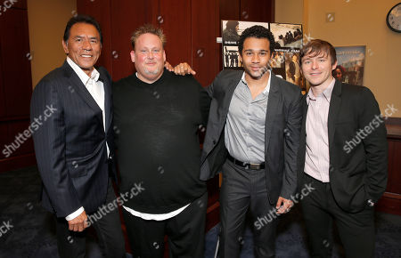 """Wes Studi, from left, writer-director Rotimi Rainwater, Corbin Bleu and Marshall Allman attend a special screening of """"Sugar"""" for Congress, in Washington"""