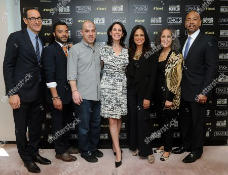 Josh Sapan, President & CEO, AMC Networks, Adam Foss, panelist, Michael Skolnik, panelist, Rachel Sklar, panelist, Soledad O'Brien, moderator, Gina Belafonte, panelist, and Bronx Borough President Ruben Diaz Jr., panelist, left to right, attend the SundanceNow Doc Club Take5 Justice in America panel, at The Paley Center for Media in New York. Take5 is a collection of five 5-minute short films exploring social justice issues. The series is available to view and share for free on DocClub.com beginning May 17th