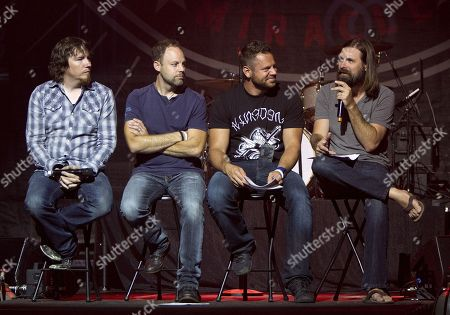 Mark Lee, David Carr, Tai Anderson and Mac Powell of Third Day answer questions from audience VIPS before the Third Day & Friends concert at the Gwinnett Arena on in Duluth, Ga