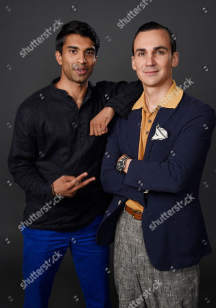 """Nikesh Patel, left, and Henry Lloyd-Hughes, cast members in the PBS series """"Indian Summers,"""" pose together for a portrait during the 2015 Television Critics Association Summer Press Tour at the Beverly Hilton, in Beverly Hills, Calif"""