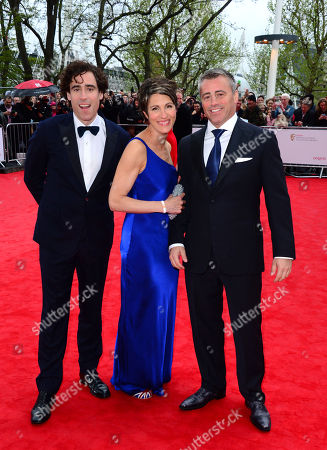British actors Stephen Mangan, left, and Tamsin Greig arrive with US actor Matt Le Blanc for the Arqiva British Academy Television Awards BAFTA in London