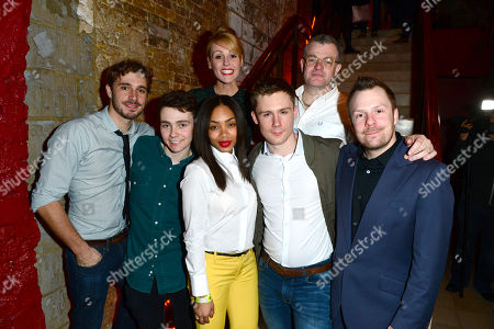 Stock Photo of Oliver Farnworth, Jake Davies, Suranne Jones, Zaraah Abrahams, Danny-boy Hatchard, Jonathan Harvey and Nikolai Foster are seen at a press night for Beautiful Thing at the Arts Theate in London on