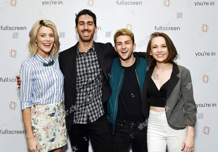 Actress Grace Helbig, left, Fullscreen founder and CEO George Strompolos, YouTube personality Issa and talk host Alexis G. Zall at the Fullscreen Press Breakfast at Fullscreen offices, in New York