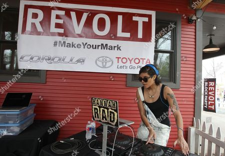 """Stock Photo of REVOLT host DJ Hannah Rad is seen spinning at the """"REVOLT Block Party presented by Toyota #MakeYourMark"""" during SXSW Music on in Austin, Texas"""
