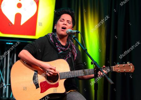 Vicci Martinez, American singer songwriter and finalist on NBCâ?™s singing competition series The Voice, visits radio station WISX Mix 106.1, in Philadelphia