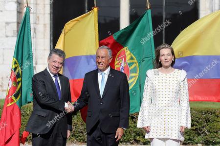 Juan Manuel Santos, Marcelo Rebelo de Sousa and Maria Clemencia Rodriguez