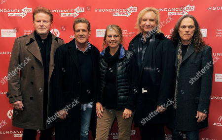 """Alison Ellwood, center, director of """"History of The Eagles Part 1,"""" poses with Eagles band members, from left, Don Henley, Glenn Frey, Joe Walsh and Timothy B. Schmit at the premiere of the film at the 2013 Sundance Film Festival, in Park City, Utah"""